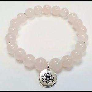 Rose Quartz Love Stone Lotus Bracelet
